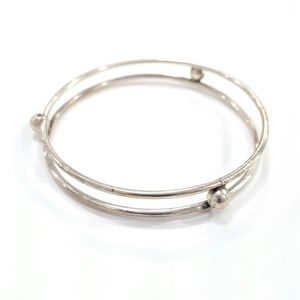 925 Sterling Silver Double Band Ball Bracelet